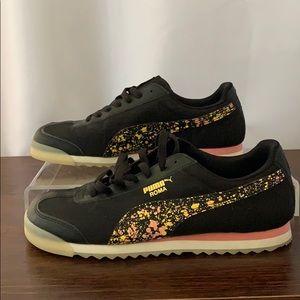 EUC Puma Women's Size 9 Blk/Peach/Yellow Sneaker